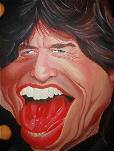 Celeb Caricatures Painting - Mick Jagger Caricature by Sean Leonard