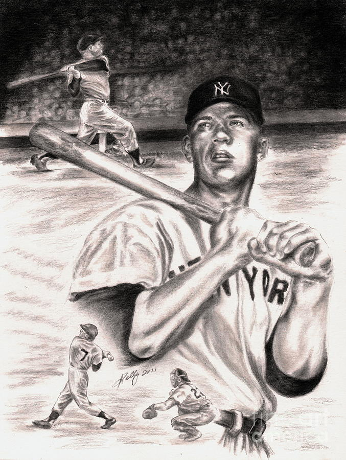 Baseball Drawing - Mickey Mantle by Kathleen Kelly Thompson