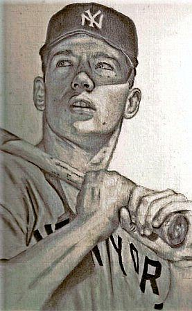 Mickey Mantle Drawing by Miguel          A Rivera