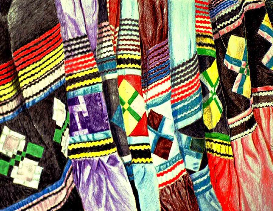 Native Americam Drawing - Micosukee Skirts by Sam Vega