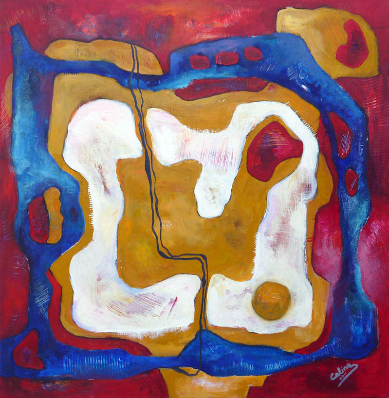 Abstract Painting - Microbes by Celina Schou
