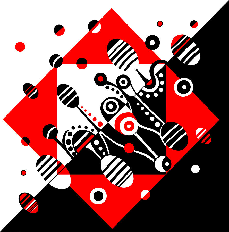 Artwork Drawing - Microgravity - Red And Black by Deyana Deco