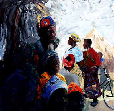 African Village Painting - Mid Day Gathering by Michelle Winnie