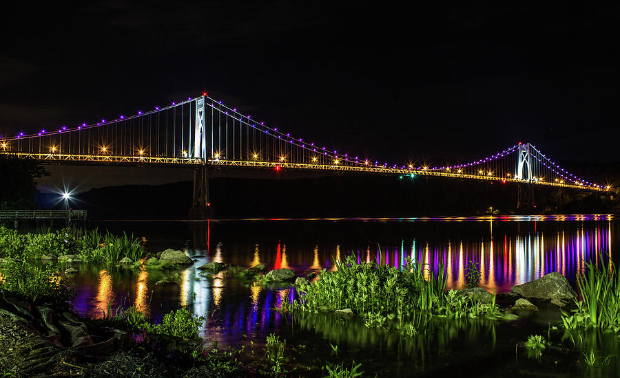 Mid - Hudson Bridge at Night by John Morzen