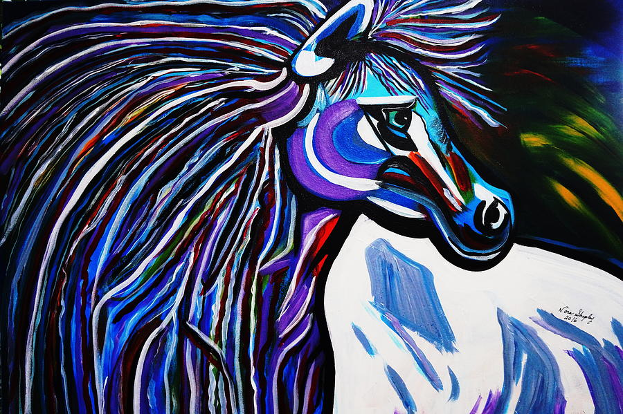 Horse Painting - Mid Night Blue by Nora Shepley