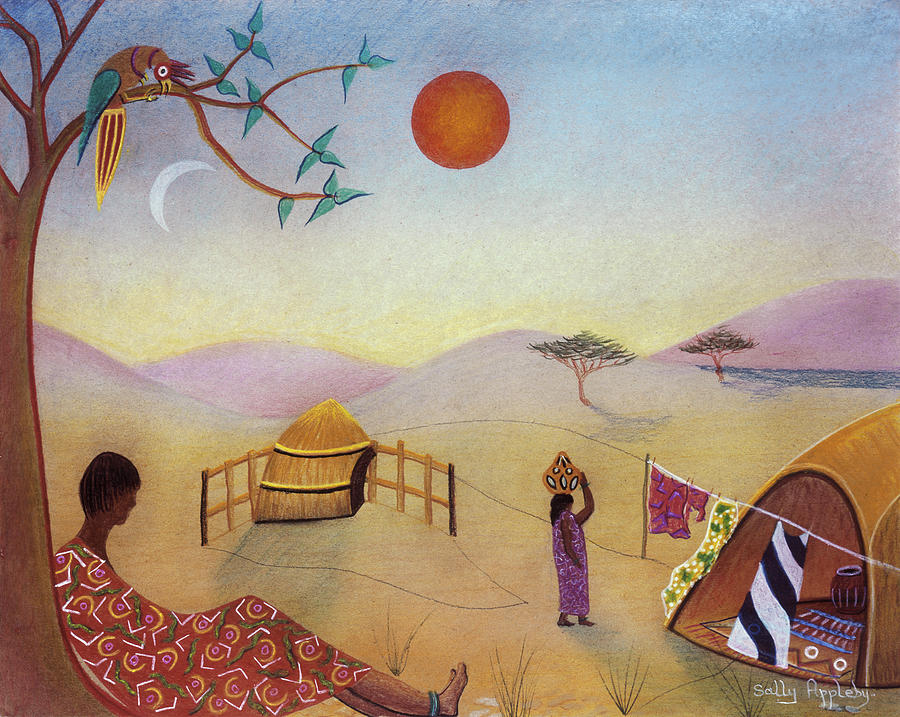 Africa Mixed Media - Midday Sun by Sally Appleby