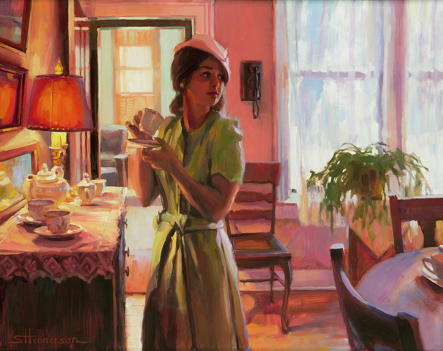 Nostalgia Painting - Midday Tea by Steve Henderson