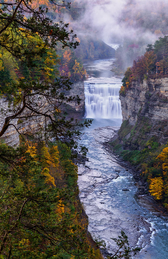 Letchworth State Park Photograph - Middle Falls Letchworth State Park by Dick Wood