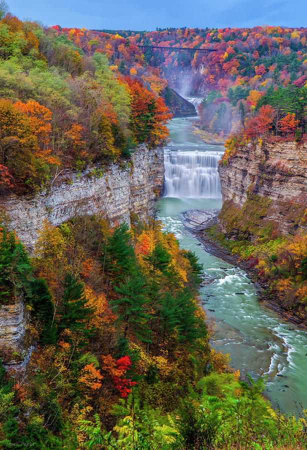 Waterfalls Photograph - Middle Falls Of Letchworth State Park by Mark Papke
