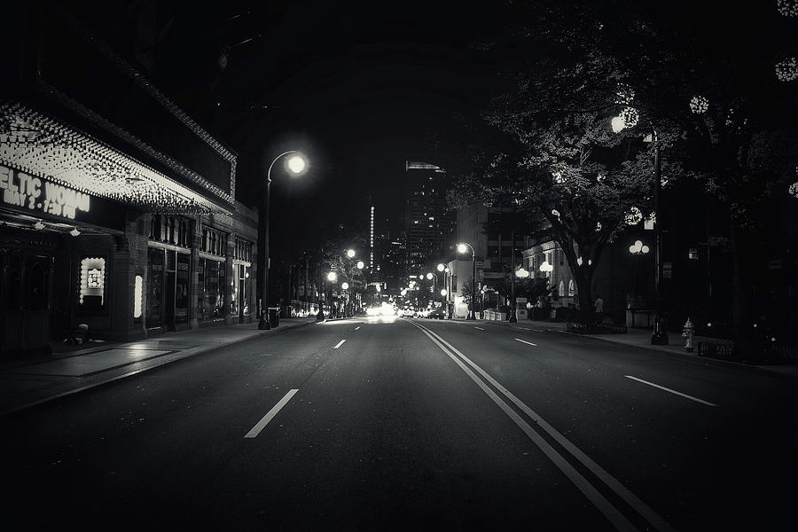 Night Photograph - Middle Of The Road by Mike Dunn