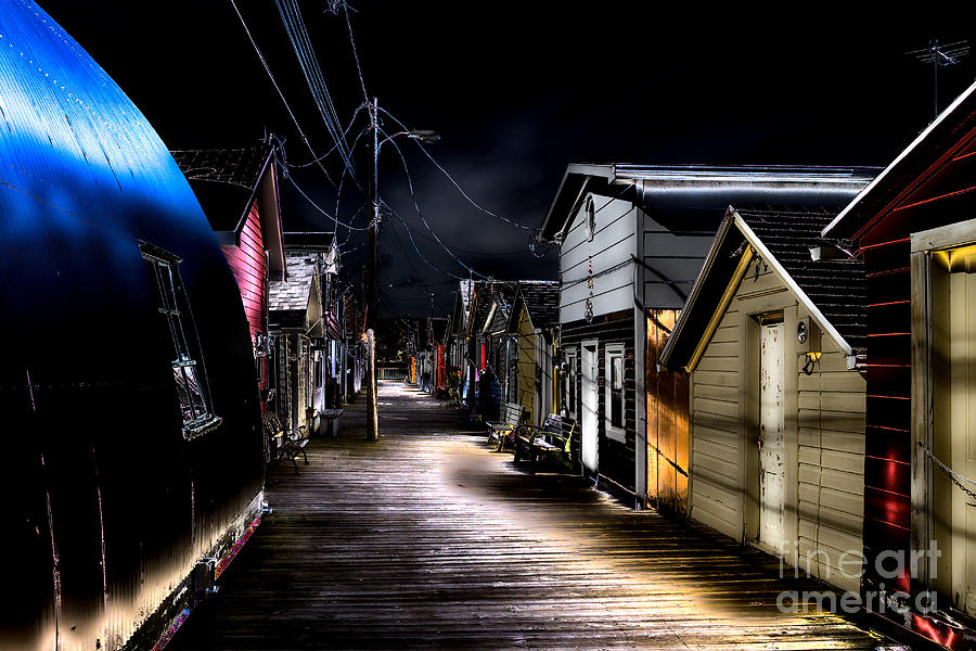 Midnight Photograph - Midnight At The Boathouse by William Norton
