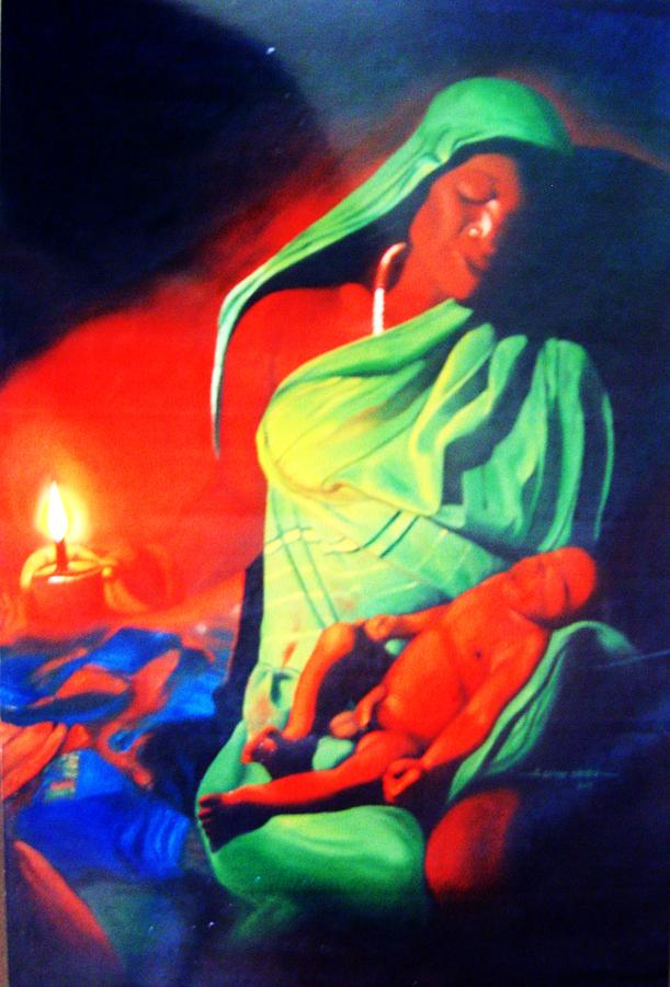 Cry Painting - Midnight Baby Cry by Eziagulu Chukwunonso