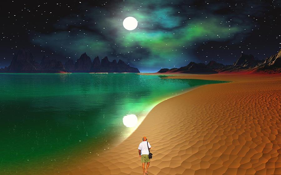 Midnight Beach Walk - Sea Of Cortezz Digital Art by David Jackson
