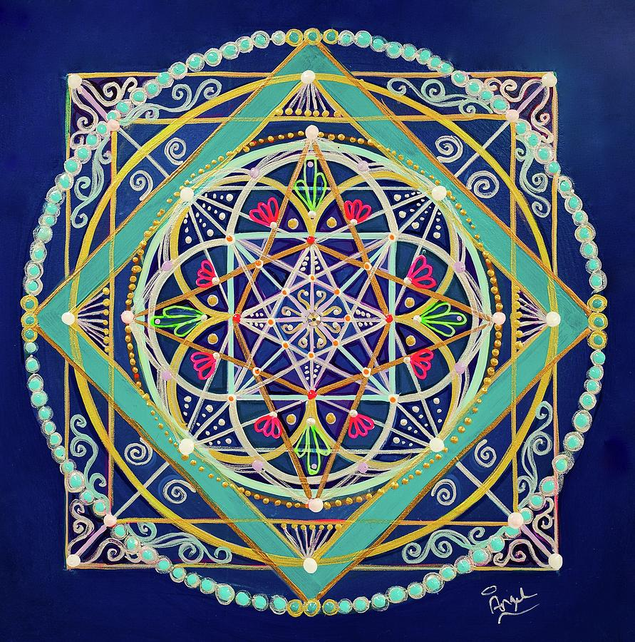 Sacred Geometry Painting - Midnight Bliss by Angel Fritz