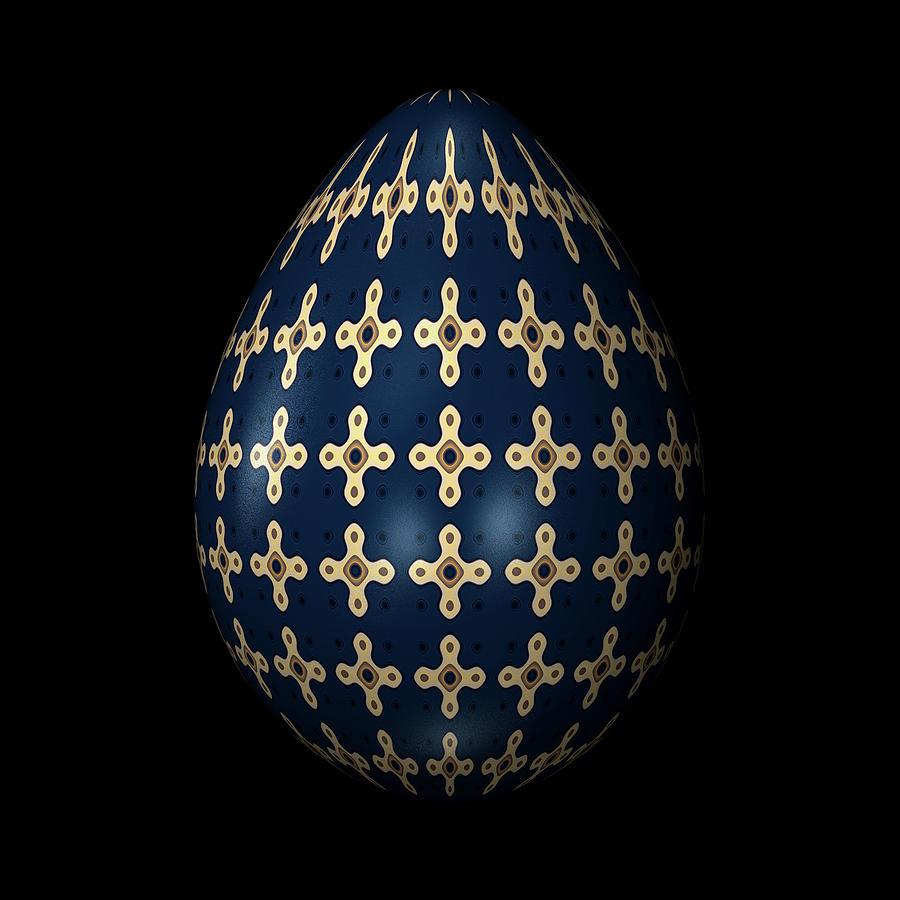 Midnight Blue Ornamental Egg Digital Art