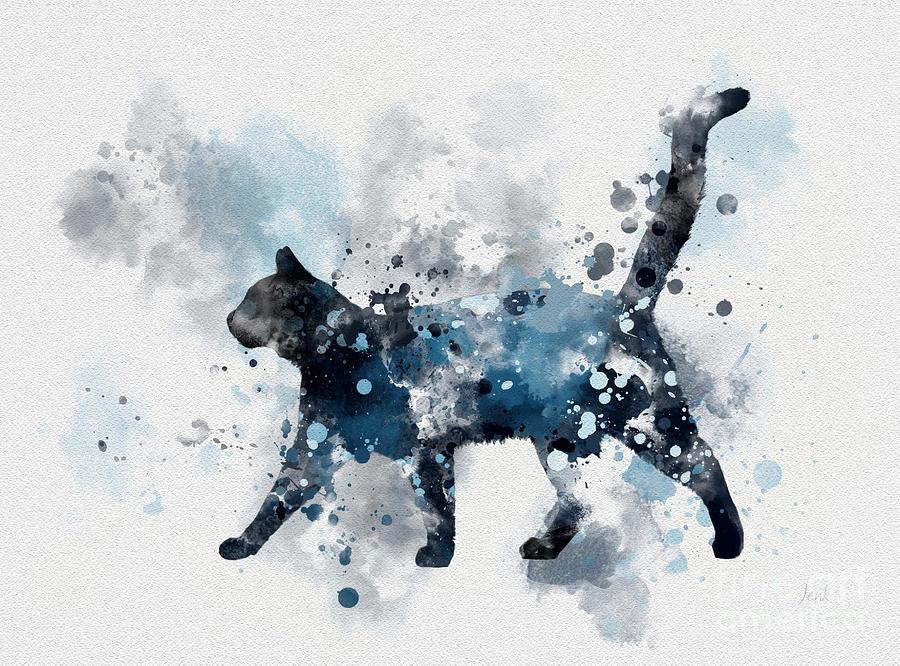 Cat Mixed Media - Midnight Cat by My Inspiration
