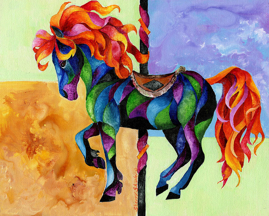 Horse Painting - Midnight Fire by Sherry Shipley