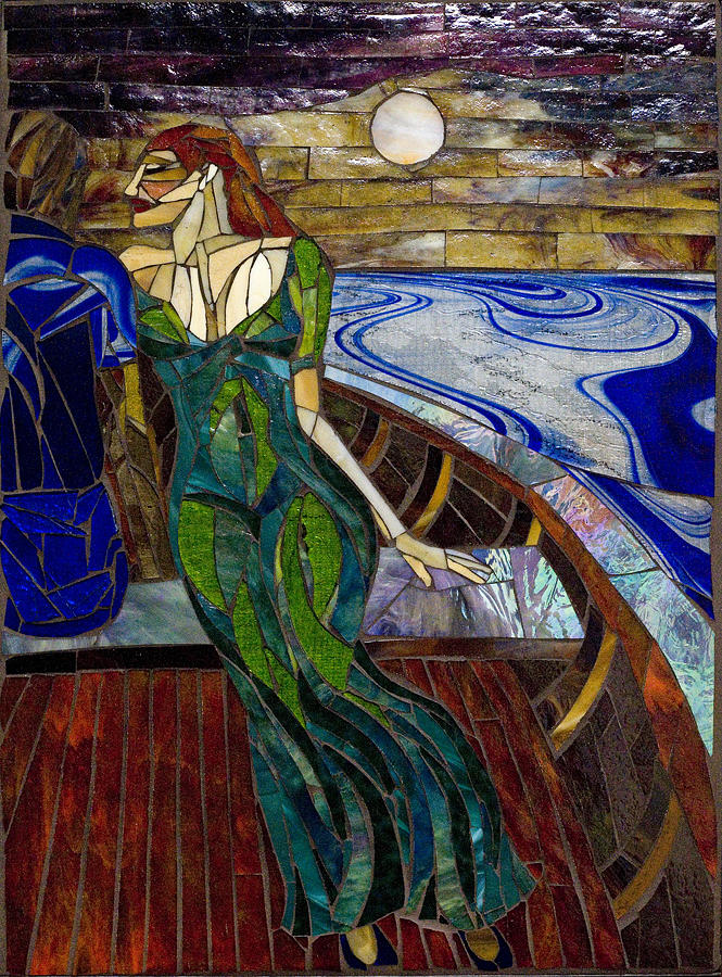 Stained Glass Glass Art - Midnight Interlude by Victor Jorgenson