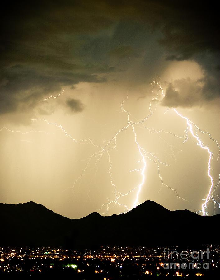 Arizona Photograph - Midnight Lightning Storm by James BO  Insogna