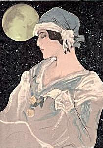 Art Deco Lady Mixed Media - Midnight Moon by Grace Marie