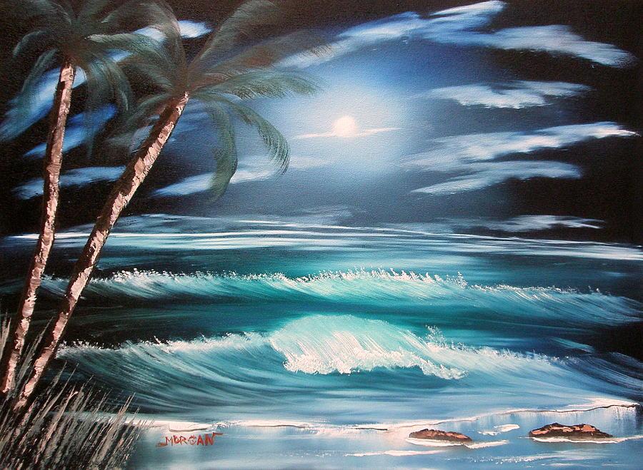 Seascape Painting - Midnight Ocean by Sheldon Morgan