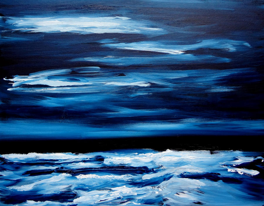 Midnight Ocean Waves Monochrome Painting Painting By Katy Hawk