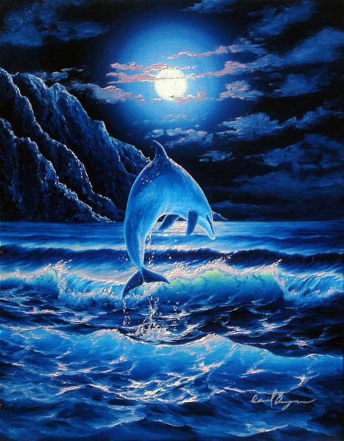 Dolphin Painting - Midnight Play by Daniel Bergren