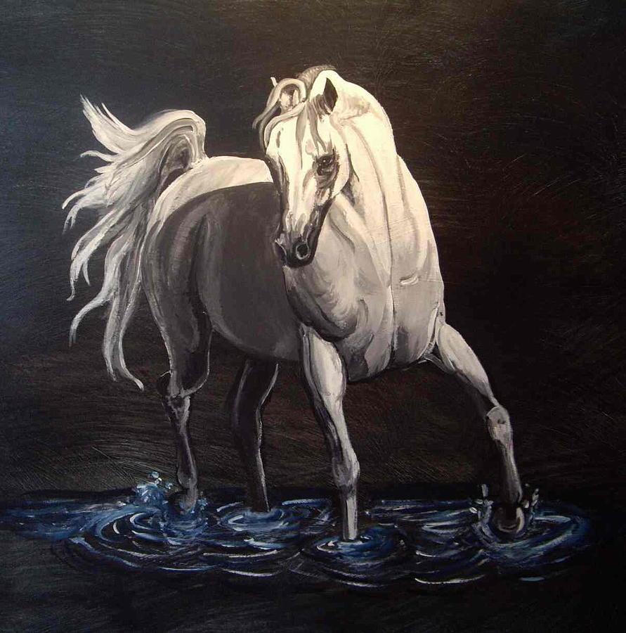Equine Painting - Midnight Prance by Glenda Smith