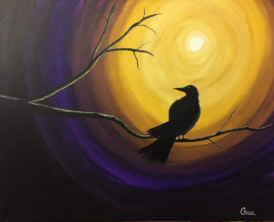 midnight raven painting by chris bishop