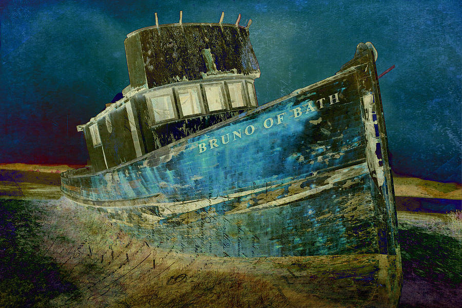 Old Ship Digital Art - Midnight Shipwreck by Sarah Vernon