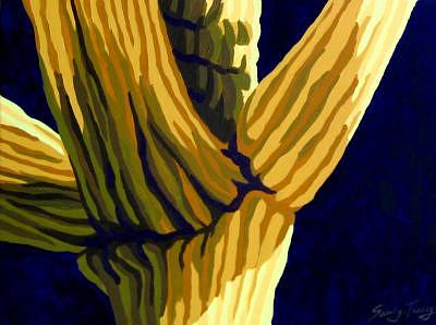 Saguaro Cactus Painting - Midnight Sky by Sandy Tracey