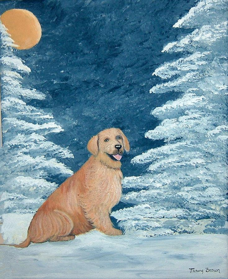 Golden Retriever Painting - Midnight Snow by Tammy Brown