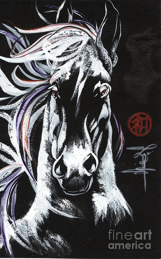 Horse Painting - Midnight Stallion by Linda Smith