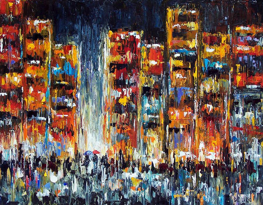 Cityscape Painting - Midnight Strangers by Debra Hurd