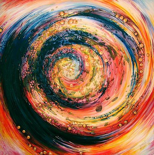 Abstract Expressionism Painting - Midnight Sun by Natalia Pietsch