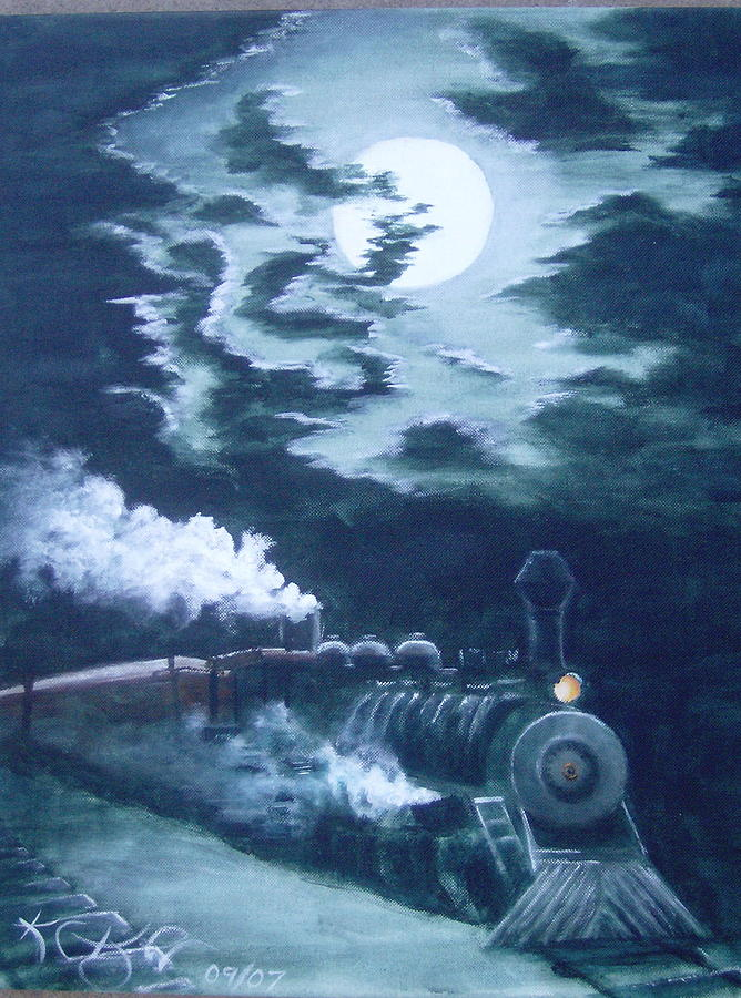 Landscape Painting - Midnight Train by KC Knight