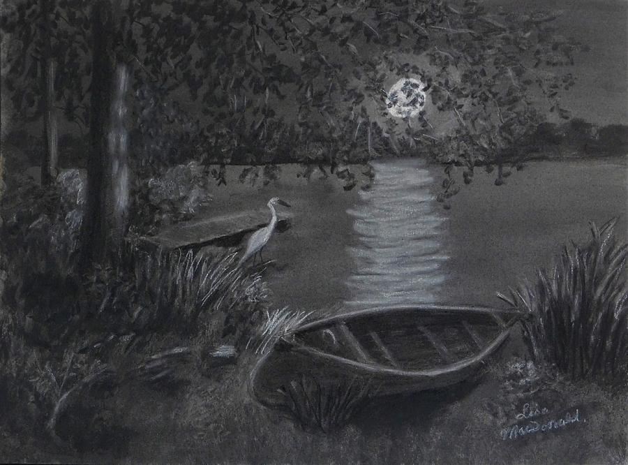 Landscape Drawing - Midnight Visitor by Lisa MacDonald