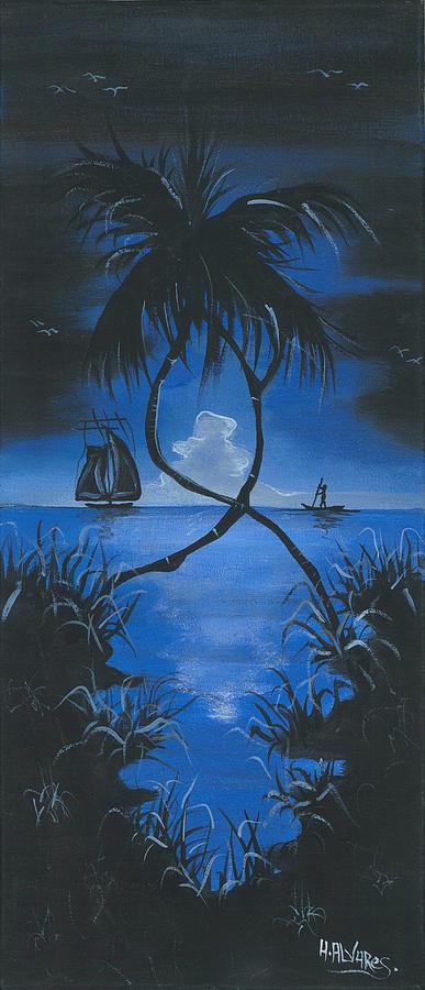 Moonlit Night Painting - Midnite by Herold Alveras