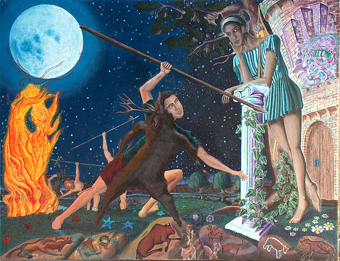 Symbolism Painting - Midsummer Night by Odysseus Yakoumakis