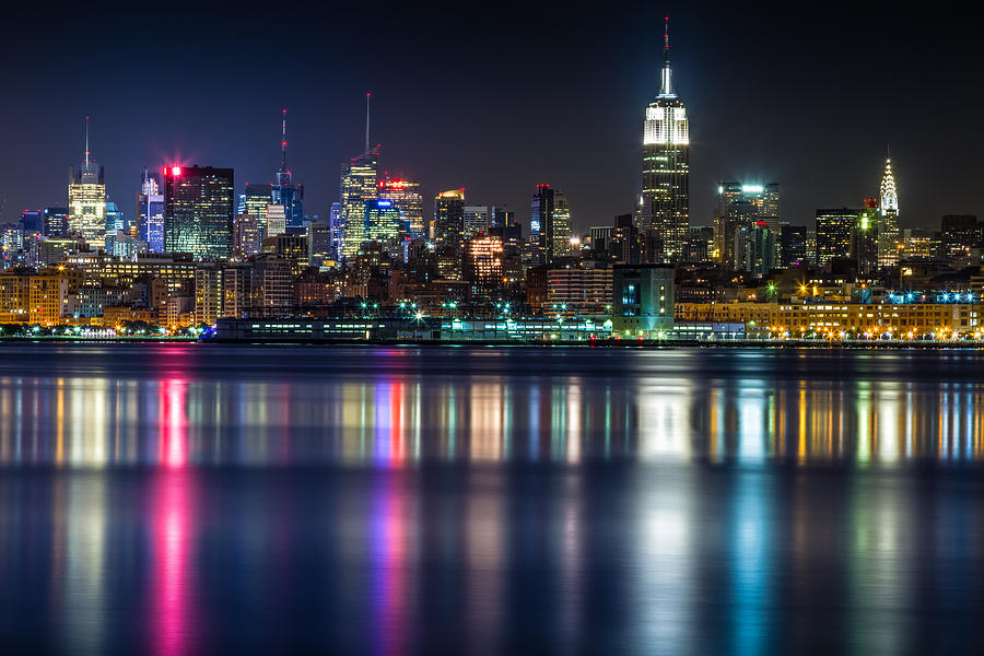 New York Photograph - Midtown Manhattan From Jersey City At Night by Val Black Russian Tourchin