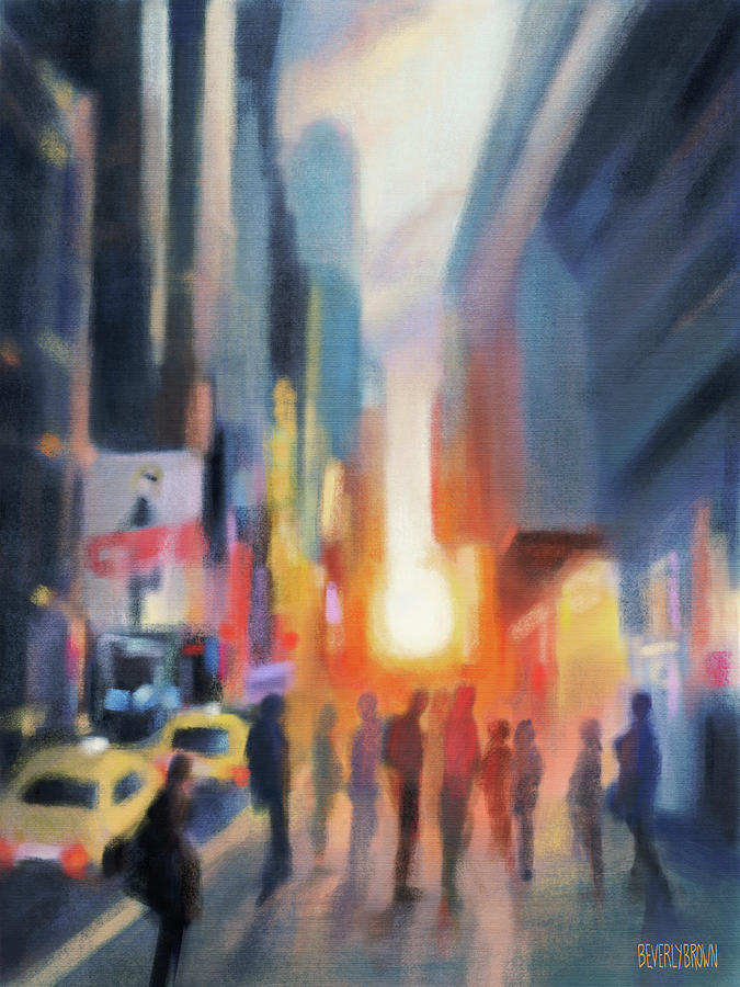 New York Painting - Midtown Manhattan Sunset by Beverly Brown