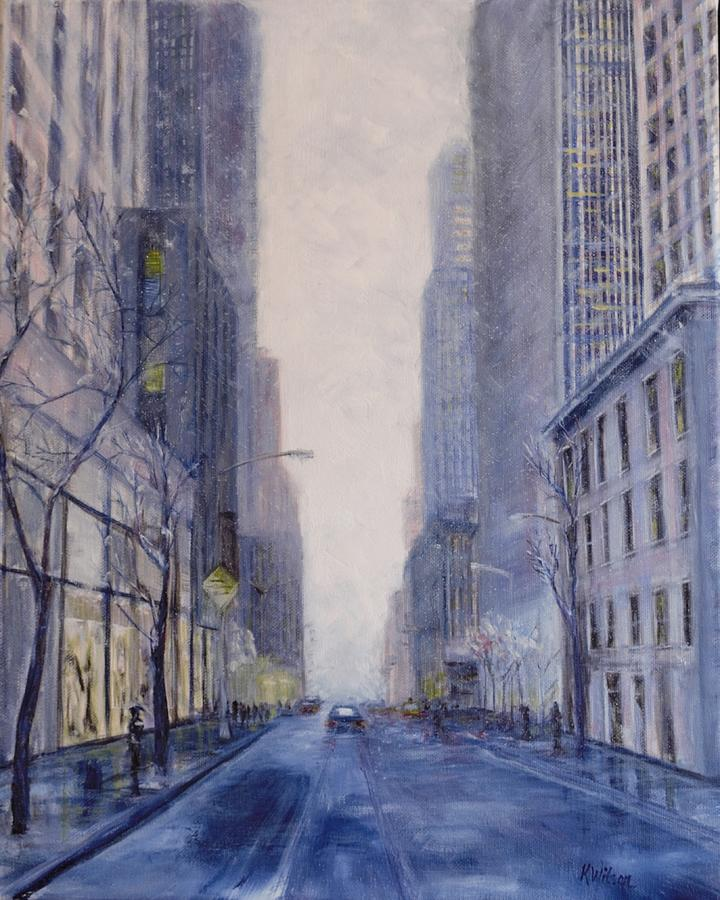 Streetscape Painting - Midtown White by Ken Wilson
