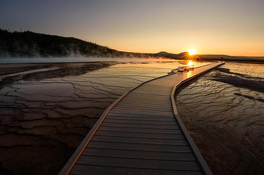 Yellowstone National Park Photograph - Midway Basin Sunset by Dan Mihai
