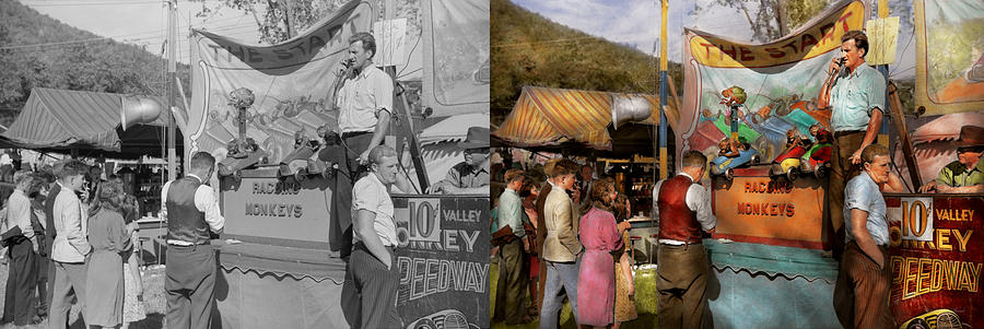 Sideshow Photograph - Midway - Racing Monkeys 1941 - Side By Side by Mike Savad
