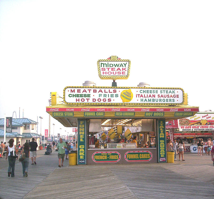 Nj Photograph - Midway Steak House - The Boardwalk At Seaside by Bob Palmisano