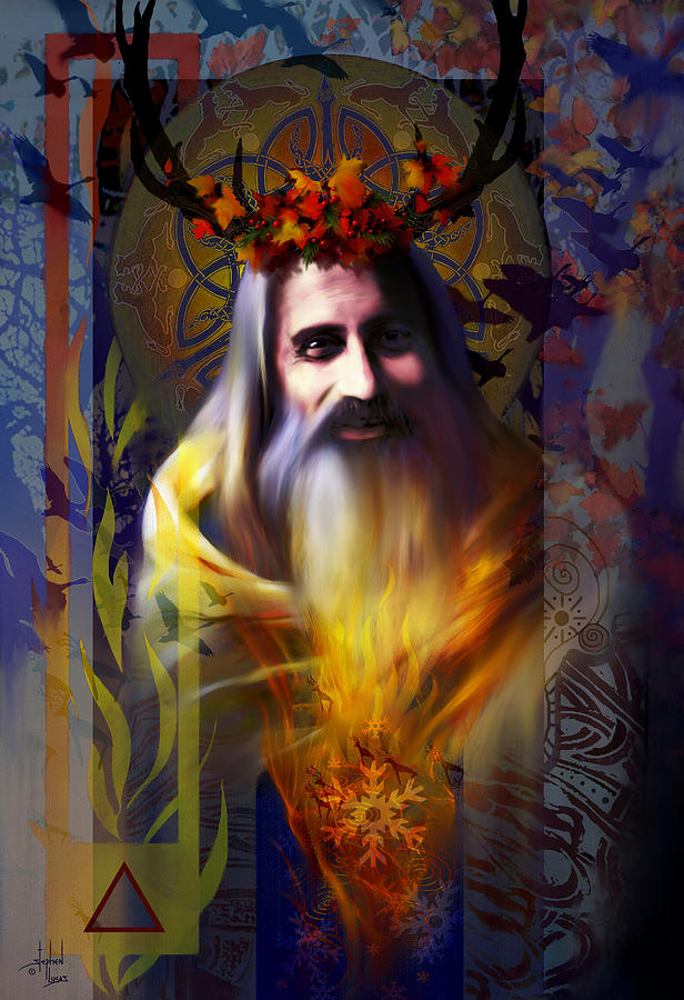 Wiccan Digital Art - Midwinter Solstice Fire Lord by Stephen Lucas