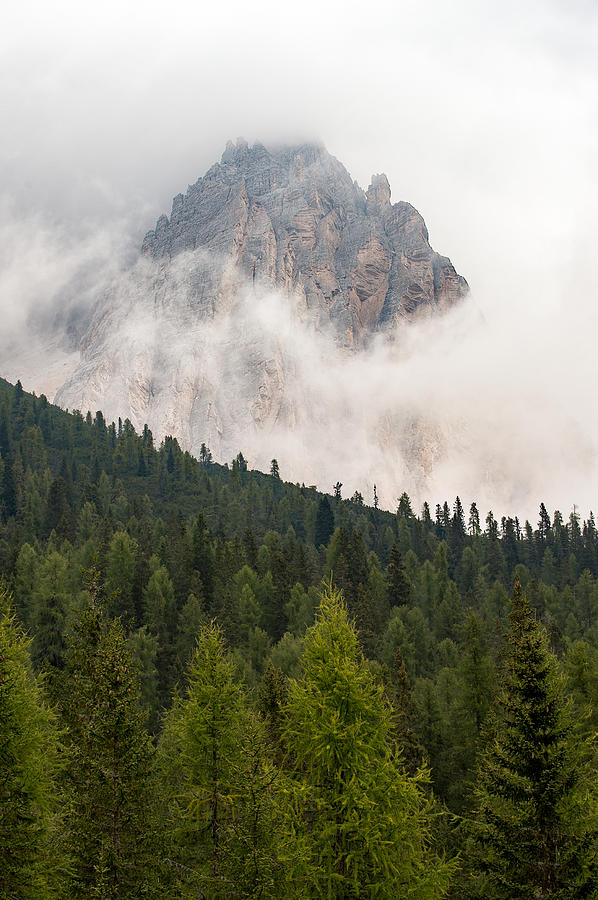 Clouds Photograph - Mighty Dolomite Peaking Through The Clouds by Wim Slootweg