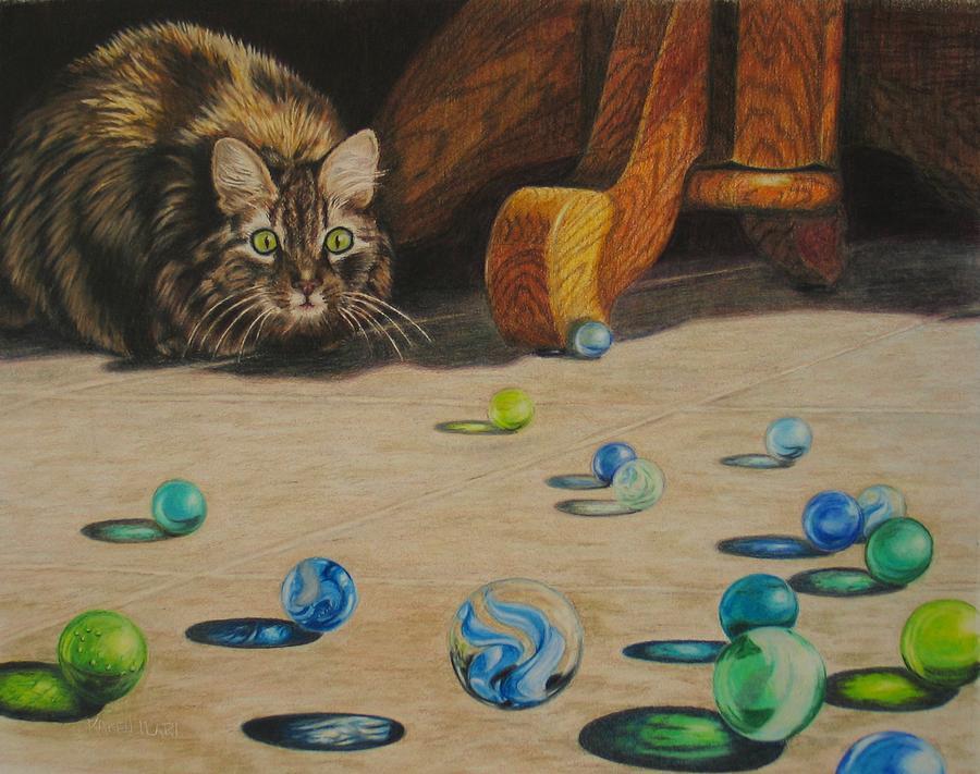 Cats Drawing - Mighty Hunter by Karen Ilari