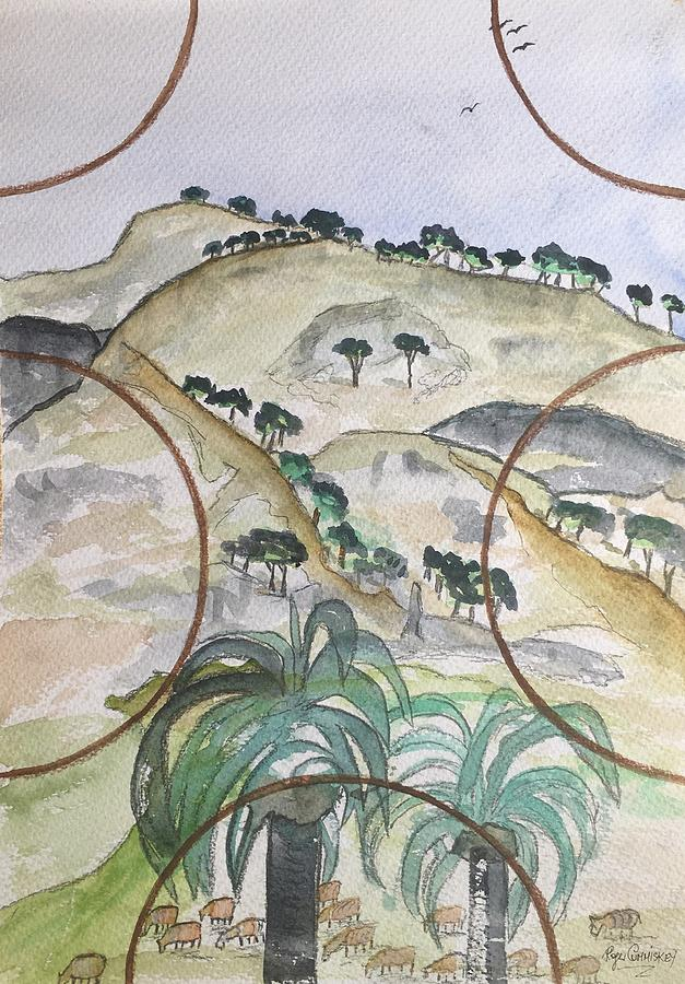 En Plein Air Mixed Media - Mijas Hills by Roger Cummiskey