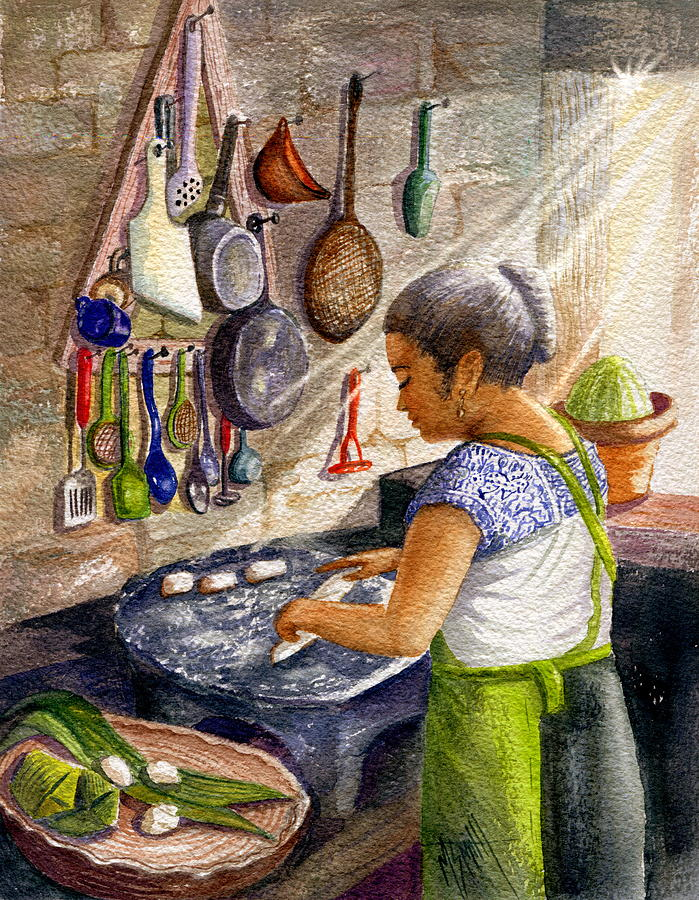 Mexican Culture Painting - Mika, The Tamale Maker by Marilyn Smith
